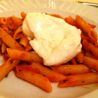 Penne with Tomato Sauce and Mozzarella di Bufala.