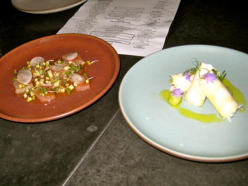 Dinner at Son of a Gun! Hamachi, Fuji Apple, Radish. Dungeness Crab Wrapped in Daikon with Melon.