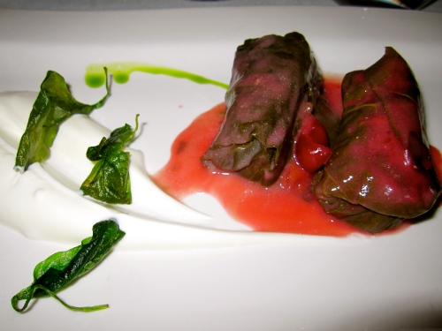 Stuffed Grape Leaves with Minced Meat and Sour Cherry Sauce.