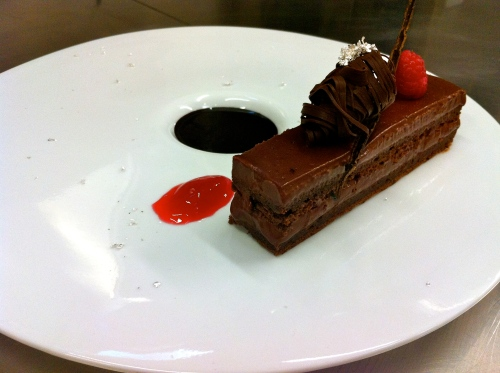 Chocolate Cake with Raspberry Chocolate Ganache, Raspberry Gelée, and Chocolate Gelée.