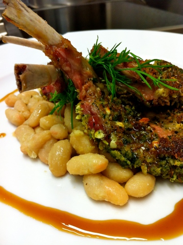Lamb Chops Crusted in Herbs with Vin Santo Sauce and Cannellini Beans.