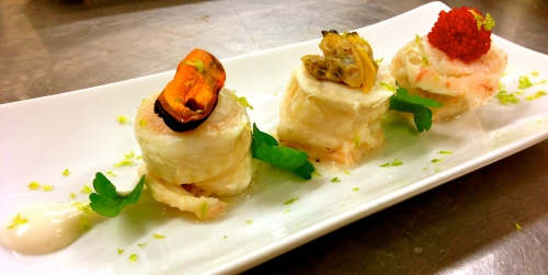 Trio of Sole Fish with Seafood Emulsion.