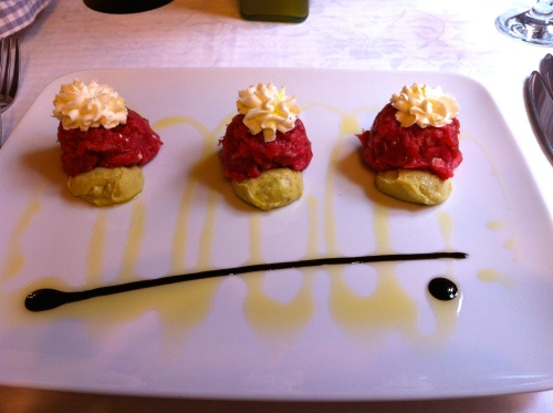 Beef Tartare with Caprino Cheese and Avocado.