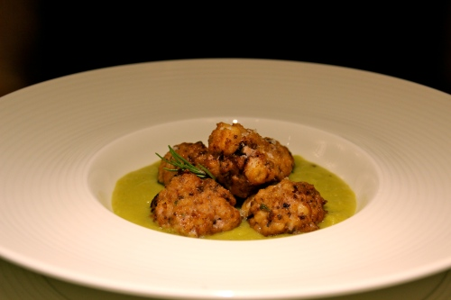 Octopus Balls with Chickpea Purée.
