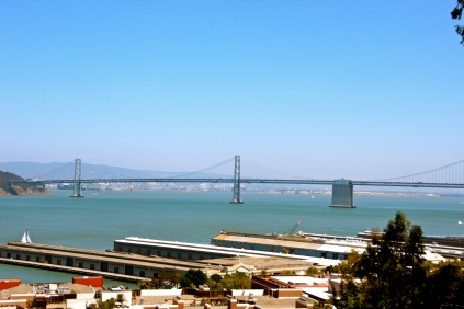 View of the Bay Bridge from Coit Tower.