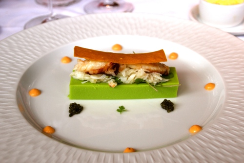 Dungeness Crab Salad on Pea Panna Cotta with Yellow Curry Crisp.