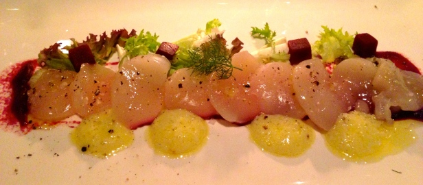 Scallop Crudo with Beetroot.