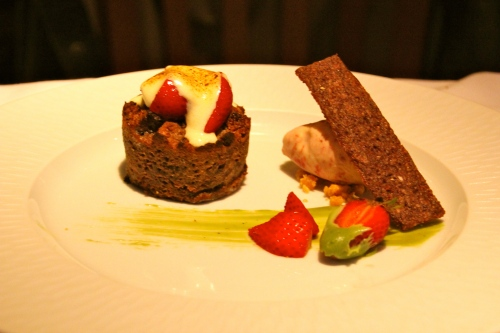 Chocolate Bread Pudding with Strawberries, Green Tea White Chocolate Ganache, and Strawberry Ice Cream.