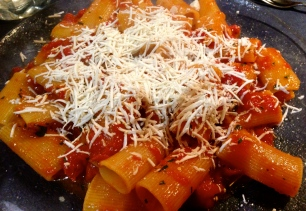 Rigatoni with Tomato Sauce and Ricotta Salata Cheese.