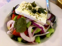 Santorini Greek Salad Using Only Vegetables Grown On the Island!