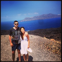 Exploring Nea Kameni, the Volcano Off of Santorini Island.