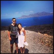 Exploring Nea Kameni, the Volcano Off of Santorini Island.