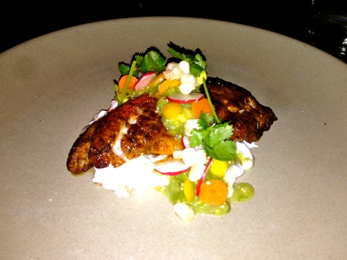 Blackened Fish, Tomatillo Salsa.