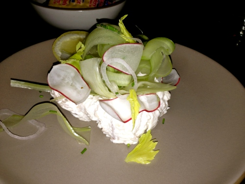 Smoked Mahi Fish Dip, Celery, Radish.