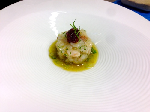 Sea Bass Tartare with Red Onion Jam and Celery Soup.
