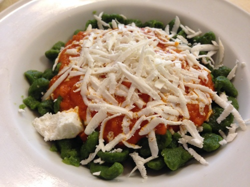 Spinach Pasta with Tomato and Ricotta Salata.