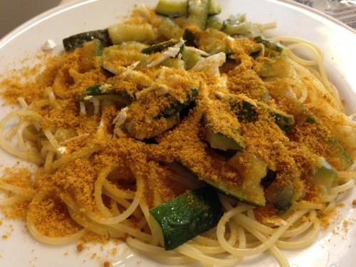 Spaghetti with Zucchini and Bottarga.
