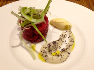 Steak Tartare with Celery and Ice Cream.