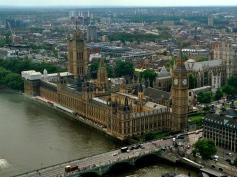 View of Palace of Westminster from the London Eye.