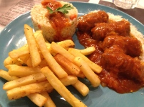 Meatballs with Rice and French Fries.