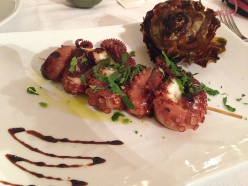 Grilled Octopus with Fried Artichoke.