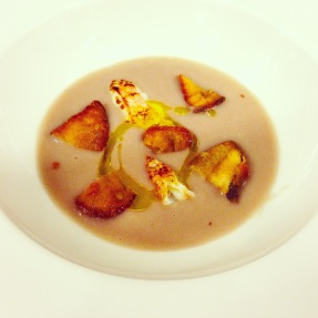 Onion Soup with Fried Porcini Mushrooms and Langoustine.