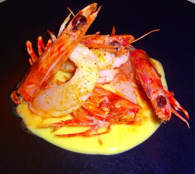Spiced Tiger Prawns with Curry Potato Cream.