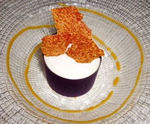 Ricotta and Pear Mousse with Sesame Twill and Persimmon Sauce.