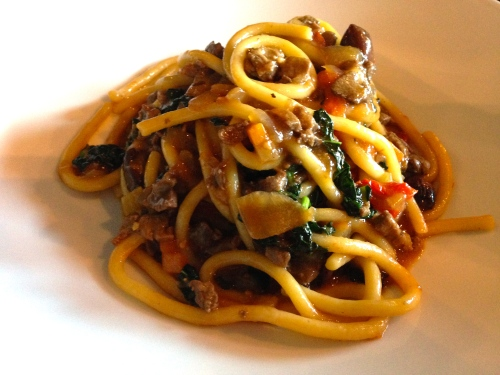 Pick Pasta with Deer and Mixed Vegetables.