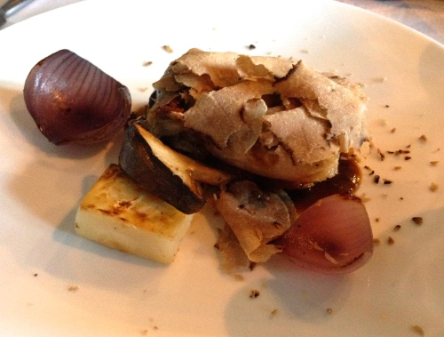 Pork with White Truffle, Celery Root, and Onions.