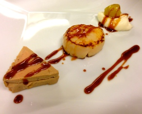 Scallop with Foie Gras Parfait with Cauliflower Purée, Shallot, and Caramelized Sauce.