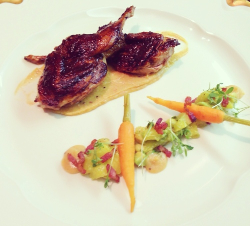 Tamarind Glazed Quail with Smoky Plantain Crema, Pineapple, Avocado, and Bacon Salsa and Pickled Baby Carrots.