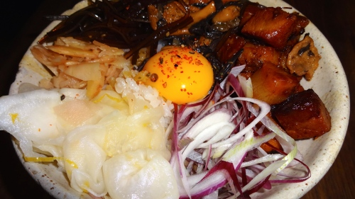 Chashu Danbury with Raw Egg Yolk, Pickled Ginger, Red Spring Onions, Meyer Lemon Turnips, and Kombu (8/10).