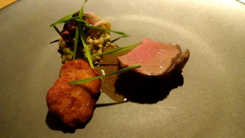 Charcoal Grilled Lamb Saddle with Sweetbread, Grains, Puffed Buckwheat, Wheatgrass, and Chicory (8.5/10).