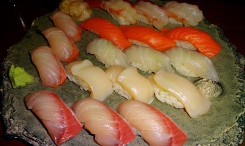 Kanpachi/Amberjack Nigiri (8/10), Hamachi/Yellowtail Nigiri (8/10), Hotate/Scallop Nigiri (8.5/10), Madai/Sea Bream Nigiri (8/10), Sake/Salmon Nigiri (7/10), and Botan Ebi/Spot Prawn Nigiri (8.5/10).