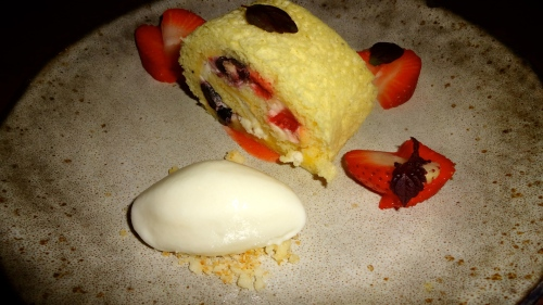 Roll Cake with Yuzu Curd, Strawberry, and Coconut Ice Cream (7/10).