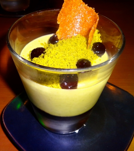 Green Tea White Chocolate Mousse with Huckleberries and Sake Jam (7.5/10).