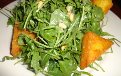 Arugula Salad with Fried Polenta, Pine Nuts, and Agur Blue Cheese Dressing (7/10).