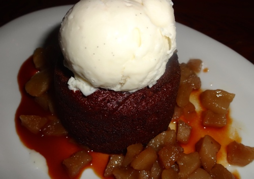 Warm Gingerbread Cake with Roasted Pears, Pear Caramel, and Vanilla Ice Cream (6.5/10).