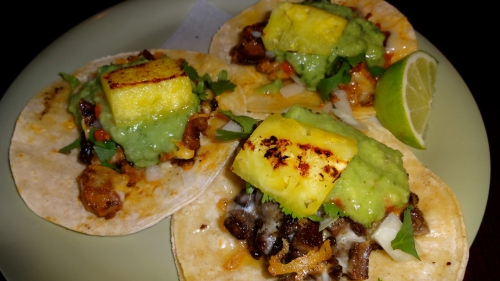 House Tacos: Two with Marinated Pork and Grilled Pineapple and One with Carne Asada.