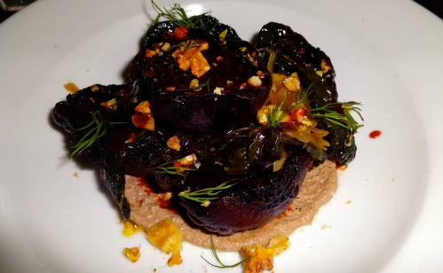 Grilled Beets with Fermented Walnut and Kale (7/10).