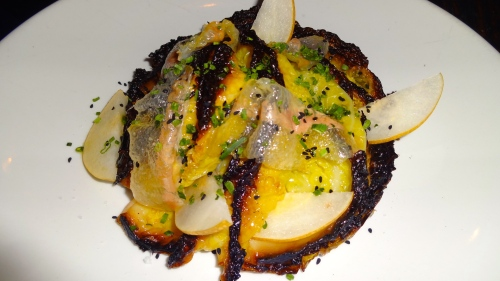 Roasted Cabbage with Guanciale, Mustard Seeds, Shaved Pear, and Nigella (6/10).
