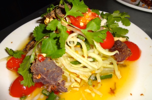 Green Papaya Salad with Long Beans, Tomatoes, Chili, Dried Shrimp, and Beef Jerky (7.5/10).