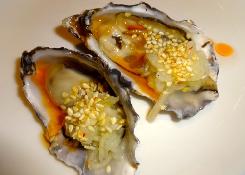 Hog Island Oysters with Spicy Kohlrabi Kraut and Sesame (8/10).