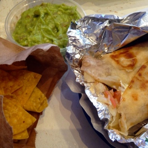 The Photo Doesn't Do it Justice! Rice and Bean Quesadilla and Chips and Guacamole.