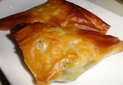 Spanakotiropita: Traditional Filo Pies of Spinach, Feta, Leeks, and Dill (8/10).