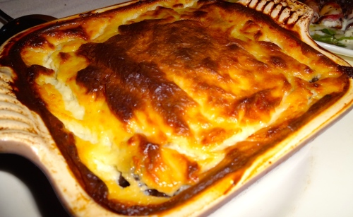 Moussaka: Traditional Casserole of Spiced Lamb, Eggplant, Potato, and Yogurt Béchamel (7/10).