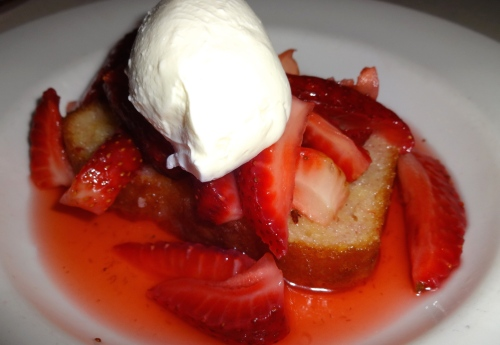Meyer Lemon Pound Cake with Macerated Strawberries and Yogurt (6.5/10).