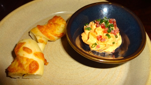 Amuse Bouche: Bread with Tomato Flavored Cheese (7/10).
