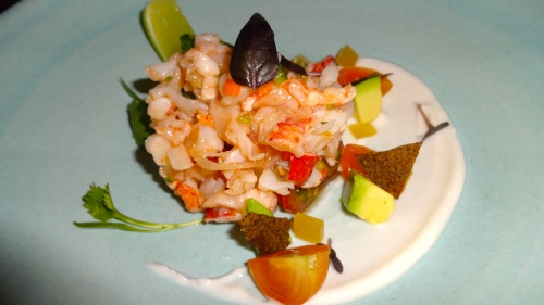 Lobster Ceviche with Caramelized Coconut, Avocado, and Kaffir Lime (8.5/10).